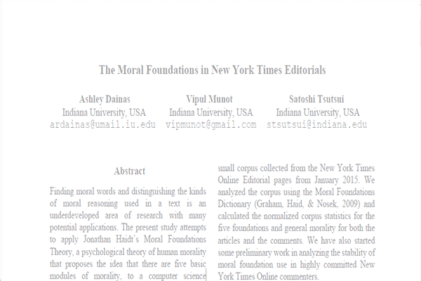 The Moral Foundations in New York Times Editorials